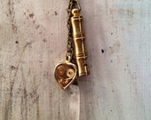 Up-cycled vintage Heart Finding , Solid Brass Whistle, Crystal Bauble Necklace