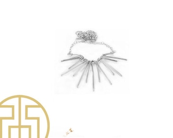 Silver Sun Wired Necklace, S14-6
