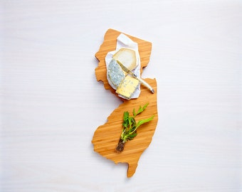 Personalized Cutting Board Engraved Cutting Board New Jersey State Shaped Cutting Board Custom Wedding Gift Valentine's Gift