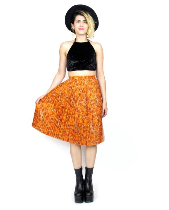 50% OFF SALE 1950s Pleated Floral Skirt Orange Accordion Pleats High Waist Skirt Marigold Orange Floral Skirt Retro Mad Men (XS)