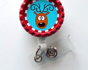 Blue Reindeer  - Nursing Badge Holder - ER Nurse Badge Reel  - ER Name Badge - Nurses Badge - Cute Badge Reel