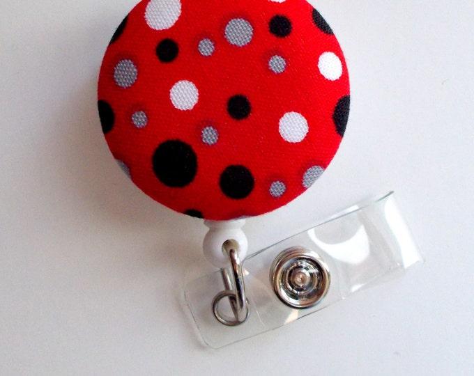 Black and Red Polka Dots - Cute ID Badge Reel - Nurse Badge Holder - Nursing Badge Reel - Retractable ID Badge Reel - Teacher Badge - Nurse