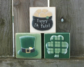 St. Patrick's Day  Wood Block Shelf Sitters with Shamrock, Pot of Gold and Leprechaun Hat