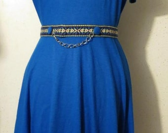 Vtg 60s Blue Jersey Knit with Southwestern Embroidery Trim Chain Belt Full Skirt A Line Dress