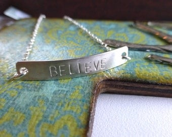 Believe Charm Bracelet, Sterling Silver Bar Charm, Gift for her, Inspirational charms, Faith Charm, Personalized Jewelry by m. frances