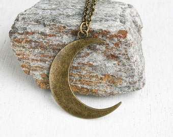 Moon Necklace (antique brass and antique silver to choose)