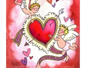 Valentine Card - Funny Valentines Card - Flying Cupids Red Heart - Valentines Watercolor Gouache Painting Print 4x6