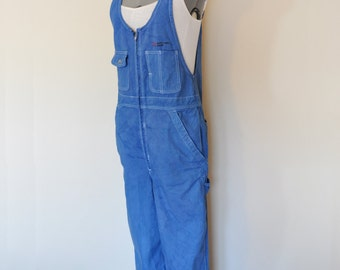"Blue Medium Bib OVERALL Pants - Hand Dyed Cobalt Blue Double Wear Cotton Overalls Pants - Womens Size Medium (36"" Waist x 31 L)"