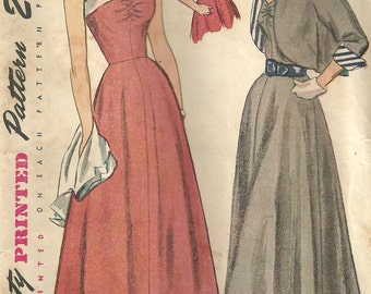Vintage 1940s Sewing Pattern Simplicity 2817 // Dress Bolero Jacket // Size 14 Bust 32
