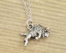 Buffalo Necklace, Silver Buffalo Charm on a Silver Cable Chain