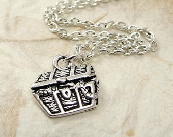 Treasure Chest Necklace, Silver Plated Buried Treasure Chest Charm on a Silver Cable Chain