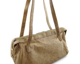 Retro Halston Ostrich Leather Handbag - 1970s Halston Purse - Brown handbag