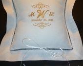 Linen Ring Bearer Pillow Custom Embroidered Monogram Bride and Groom Keepsake Pillow