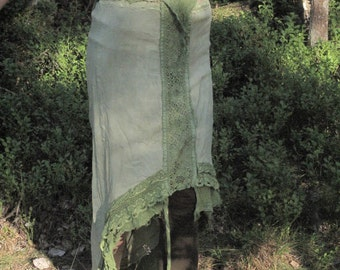 Fae of the summer woodlands, organic raw silk cotton skirt