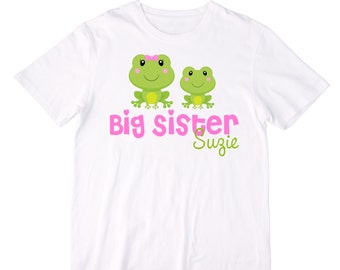 Personalized  Frogs Big Sister Shirt or Bodysuit - Can be Personalized with ANY name - Great for the Big Sister or a Pregnancy Announcement