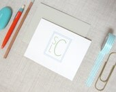 Stacked Monogram Stationery | Set of 10 Personalized Folded Note Cards | Custom Colors