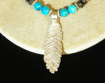 Handmade Silver Feather Native Style Necklace