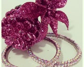 Pink Large Rhinestone Earrings, Rhinestone Hoop Earrings, Silver Hoop Earrings, Basketball Wives Hoop Earrings - NaughteeBits