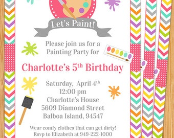 Art Painting Birthday Party Invitation for Kids - Printable