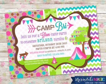 Glam Camp Invite, Glamping Invite, Girl Camping Party Invite, Camping Birthday Invite, Camping Party, Printable Invite, Girl Glamping