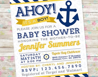 Baby Boy Shower, Ahoy Its a Boy, Nautical Invite, Anchor Invitation, Gold and Navy, Yellow and Navy, Baby Shower Printable, DIY, Baby Boy