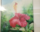 ALOHA FLOWER ART, Framed Original Fine Art Tropical Hawaiian Red Hibiscus Flower, Black Frame Watercolor Painting, by artist Christie Marie