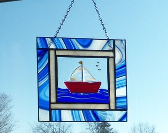 SaiLboat // Stained GLass Panel // Fused GLass Center // Red White and BLue // Patriotic // July 4th // Small // Window // Bright //Cheerful