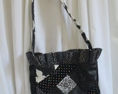 "Handmade Purse ""NAOMI"" - Black and Ivory Lined Medium Sized Shoulder Bag - Black & White Bag"