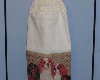 King Charles Cavilier crocheted single kitchen dish towel