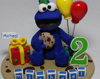 Custom Cookie Monster Birthday Cake Topper