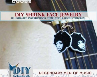 DIY eBook Tutorial Legendary Music Men Shrink Plastic Charms Jewelry Instant Download Printable Clip Art