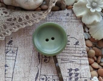 Green Vintage Button Hair Pin Bobby Pin