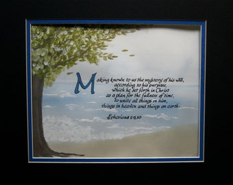 Custom Calligraphy/Ocean/Bible Art/College Student Gift/Calligraphy/Made to Order/ 8x10For Him