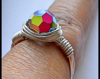 Silver Wire Wrapped Ring With Swarovski Vitrail Crystal, Vitrail Jewelry,Wire Wrapped Jewelry, Swarovski Crystal Ring, Silver Wire Ring