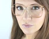 Vintage 80's Square Butterscotch Fade Eyeglasses Frames