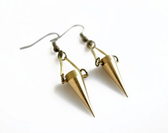 Gold Spike Earrings, Brass Spike Earrings, Minimal Geometric Earrings