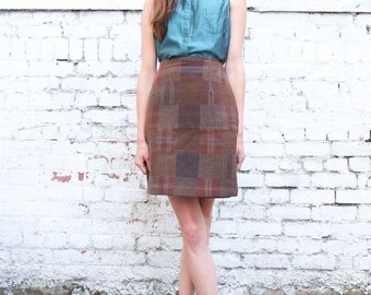 Vintage Plaid Patchwork 1990's High Waisted Earth Toned Knit Pencil Mini Skirt S/M