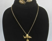 3 pc Vintage 1950's-1970's Brass Pine Cone Demi Parure Jewelry Set-Necklace & Earrings