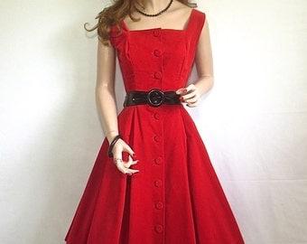 GORGEOUS Vintage 1950's Cherry Red Velvet Pin-Up Dress - Hourglass Prom Dress-sz Sm
