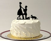 CAT + BRIDE & GROOM Silhouette Wedding Cake Topper With Pet Cat Family of 3 Silhouette Engagement Cake Topper Bride and Groom Cake Topper