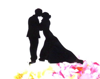 Silhouette Wedding Cake Topper  Mr and Mrs Silhouette Wedding Cake Topper Bride and Groom Cake Topper