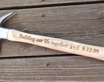 HAMMER FOR HIM Engraved Hammer Building Our Life Together Personalized Hammer Gift For Him Wedding Gift For Husband