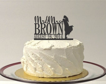 MADE In USA, Wedding Cake Topper Monogram Silhouette Mr and Mrs Topper Custom Personalized with YOUR Last Name + Date