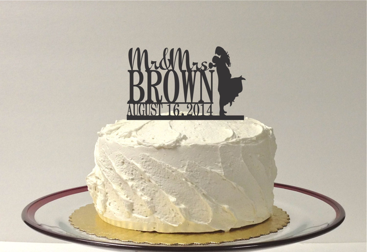 MADE In USA Wedding Cake Topper Monogram Silhouette Mr and