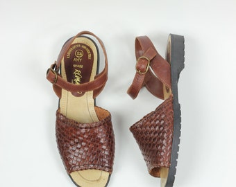 Size 5-5 - 1970s Braided Peep-Toe Leather Sandals