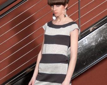 Silver Stripe Peggy Dress