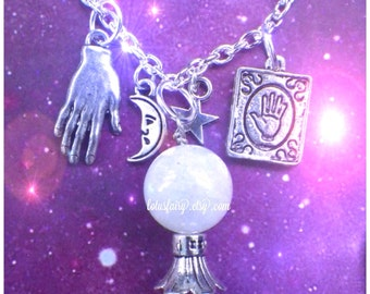 Rainbow Moonstone Crystal Ball Palm Reader necklace, Witchy trinkets,