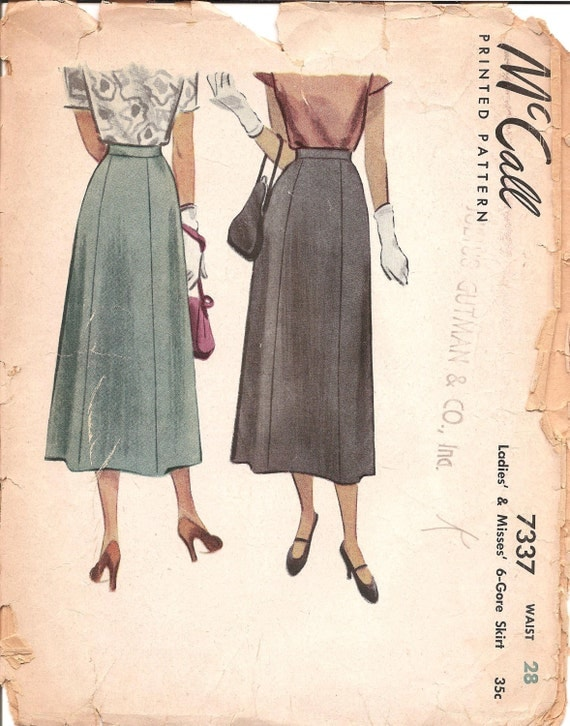 items similar to 1940s midi skirt pattern vintage mccall