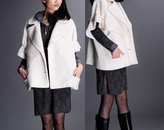 Creamy-white wool coat jacket