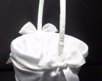 White or Ivory Wedding Flower Girl Basket